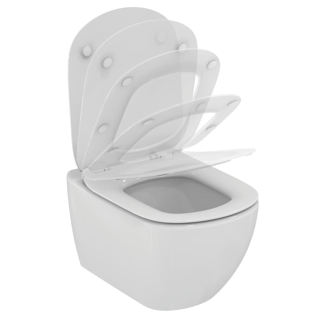 PACK WC suspendu Aquablade® avec abattant et couvercle slow closing fin, fixation invisible (set de fixatoin inclus)